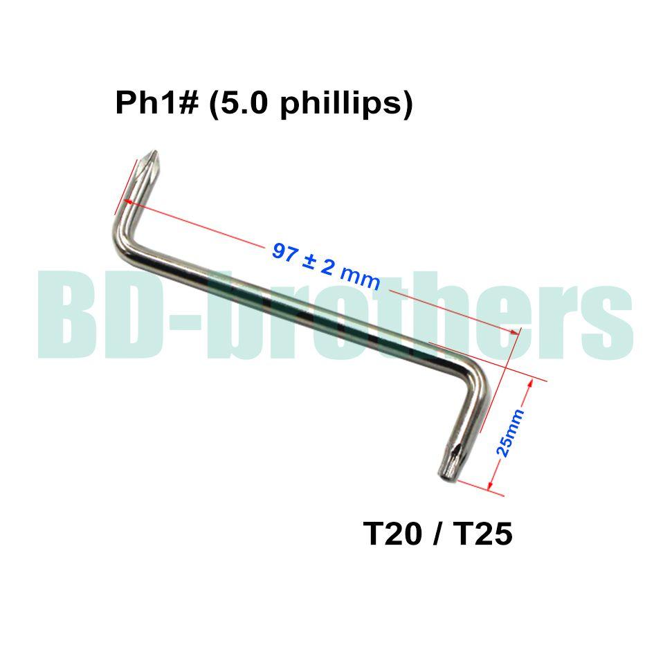 T20 / T25 + 5.0 mm Phillips PH1 # Cacciavite con foro Z Cacciaviti Strumento parafango auto di auto 100 pz / lotto