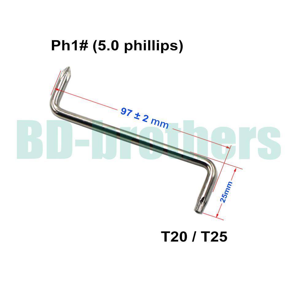 T20 / T25 + 5.0 mm Phillips PH1 # schroevendraaier met gat Z-schroevendraaiers Tool voor automatische spatbord van auto 100 stks / partij