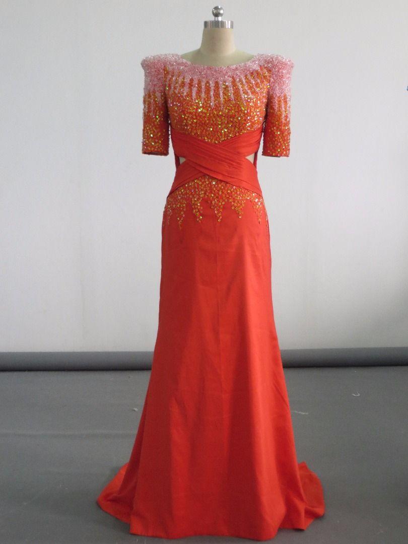 Real Photos Elegant Muslim 1/2 Sleeve Mermaid Lace Beaded Evening Dresses Custom Made Zipper Floor Length Flower Orange Prom Gown for Women
