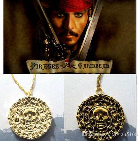 Vintage Pirates of the Caribbean Aztec Gold Coin Necklace Men Skull