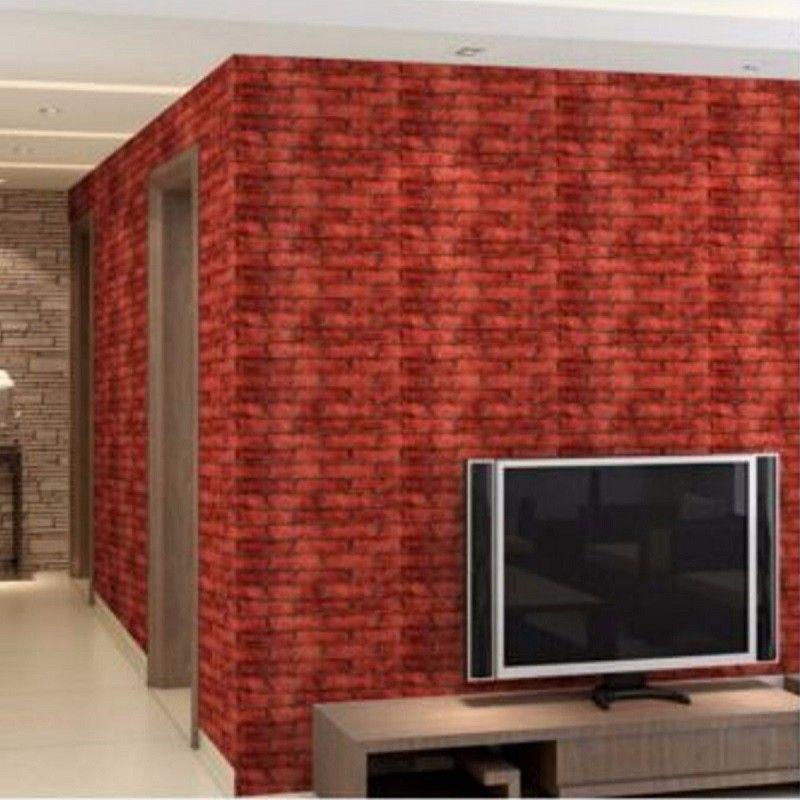 brick wallpaper sticker luxury wood blocks effect brown stone 1m