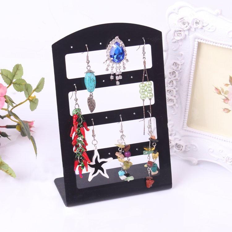 Supporto dell'orecchino del supporto di mostra dell'orecchino di plastica trasparente nero 24holes 48holes 72holes Jewelry Organizer Orecchini Storage Rack