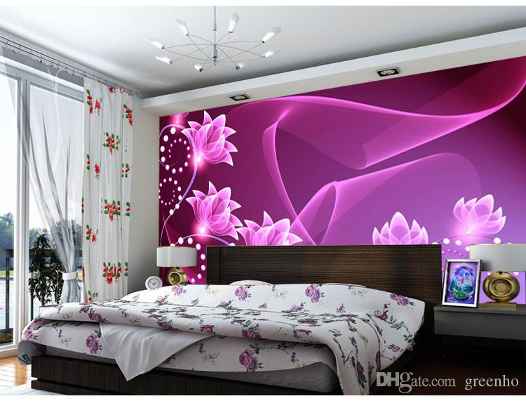 Fashion wall mural purple flowers photo wallpaper dazzles for Purple living room wallpaper