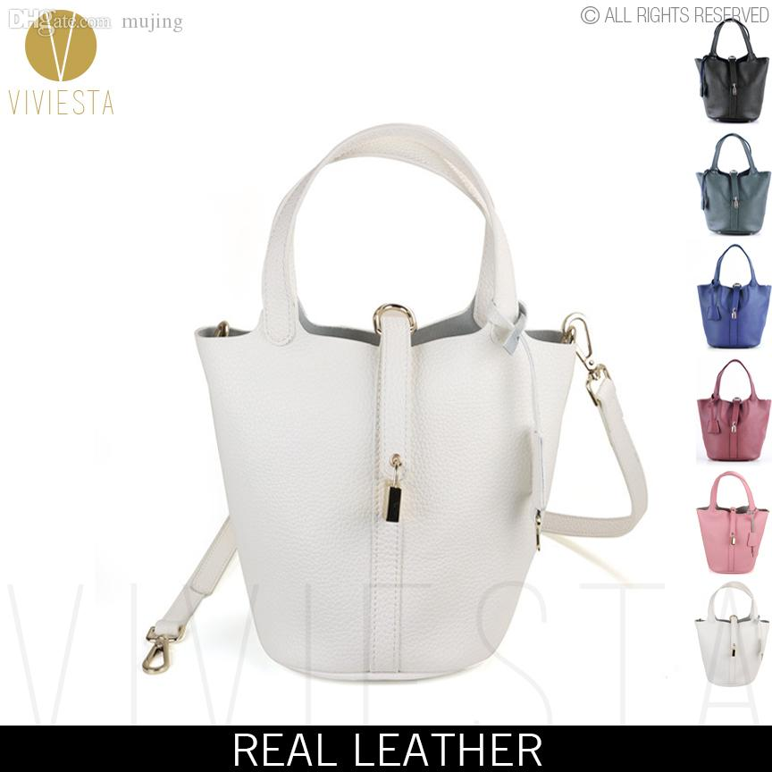 f2aad7082a Wholesale GENUINE LEATHER KEY LOCK MINI BUCKET BAG Women S 2016 Fashion  Natural Soft Cowhide Top Handle Small Tote Crossbody Bag Shoulder Bags  Laptop Bags ...