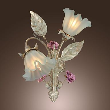 Libraries flower wall lights wall sconce led wall light lamp with 2 lights home lighting country wall sconce led wall aloadofball Images