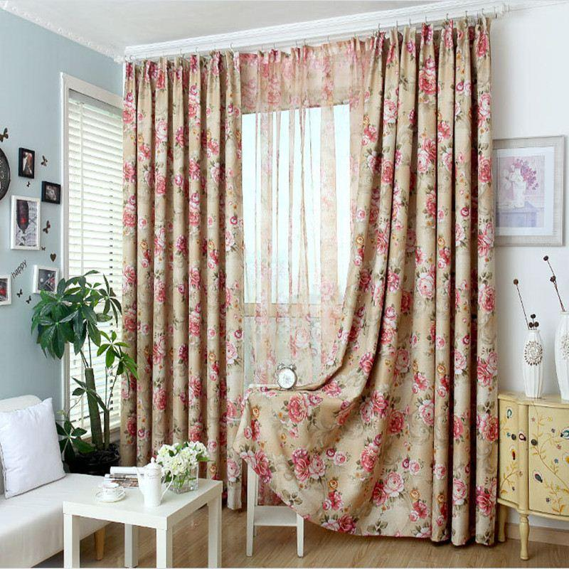 New 2015 Pastoral Printed Tulle Window Curtains For Living Room Bedroom Blackout Treatment Drapes Home Decor Hand Sleeves Protective Arm