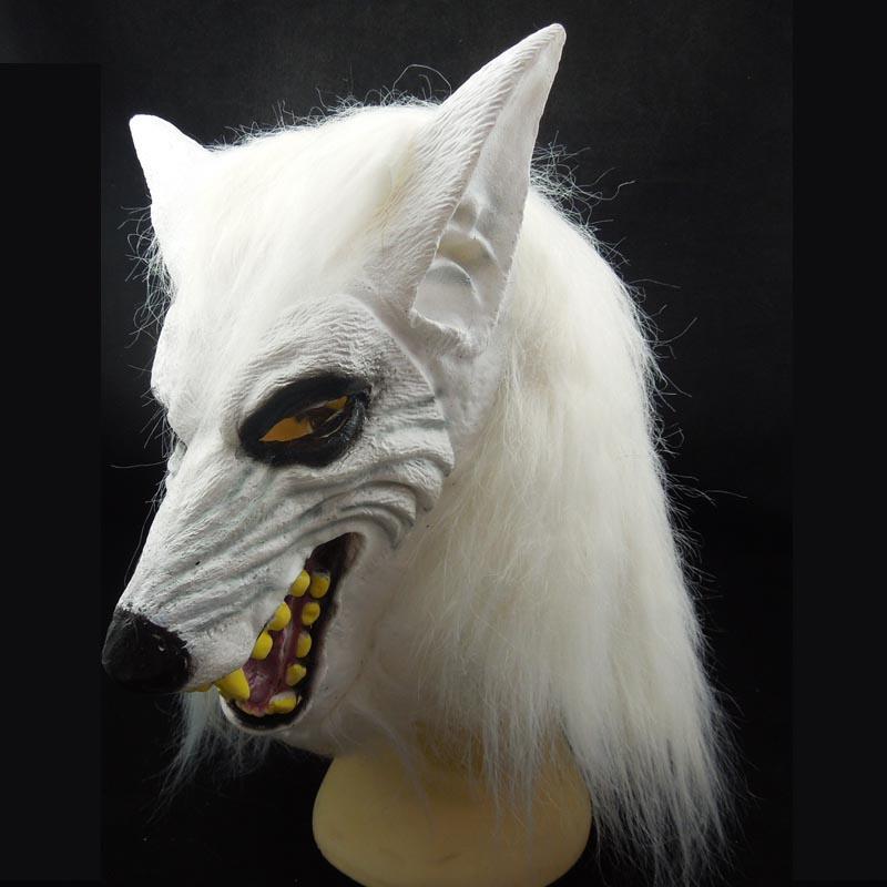 Nueva White Wolf Mask Animal Head Costume Latex fiesta de Halloween carnaval mascarada bola decoración novedad regalo de Navidad envío gratis