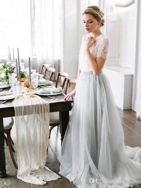 Estilo country bohemian vestidos de dama de honra top lace mangas curtas ilusão corpete saia de tule maid of honor convidados do partido de casamento vestidos