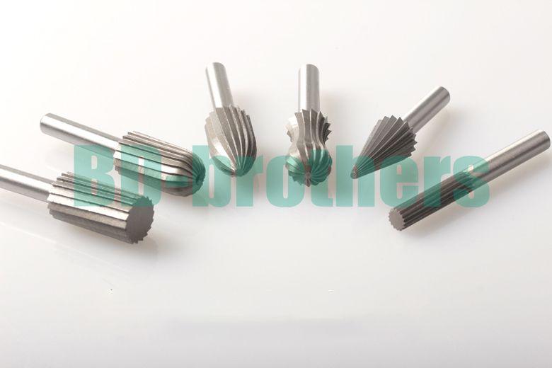 "/set HSS Carbide Burr Bit Rotary Cutter Files Set Milling Cutter 6mm 1/4"" Shank For Dremel Rotary Tools Electric Grinding 50"