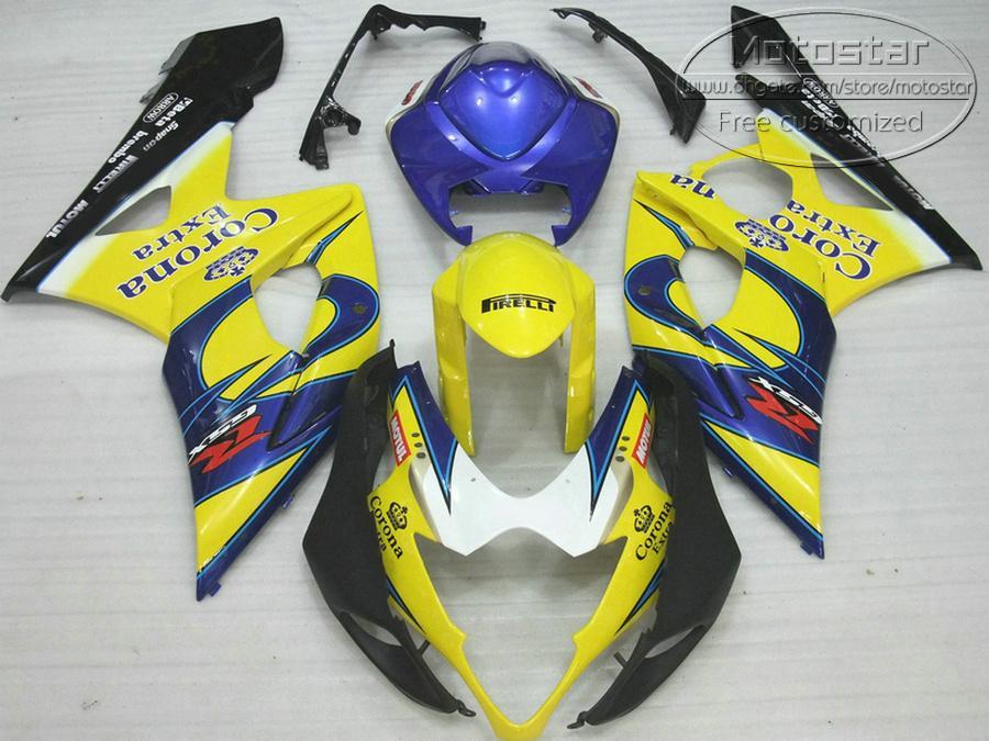 Высокое качество ABS обтекатель комплект для SUZUKI 2005 2006 GSXR1000 05 06 GSX-R1000 K5 K6 желтый синий Корона обтекатели набор SX12