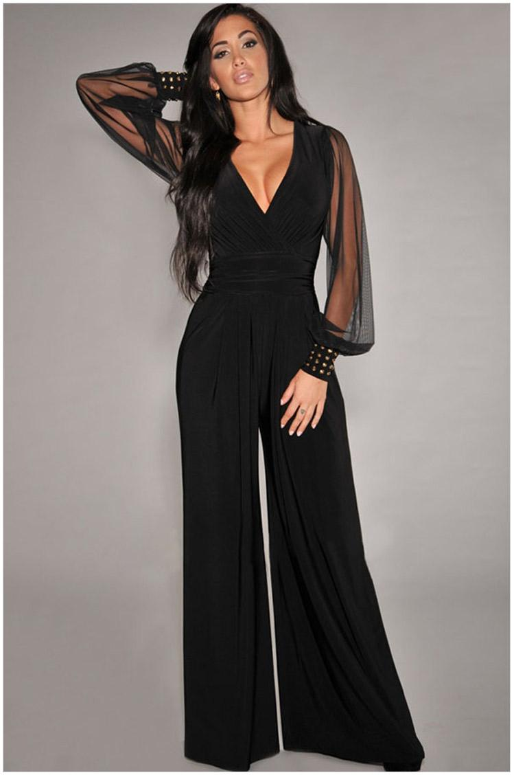 2016 New Street Style Fashion Jumpsuits Straight-leg Pants Woman Loose Long Pants Black V Neck Long Sleeve Lace Sheer Jumpsuits