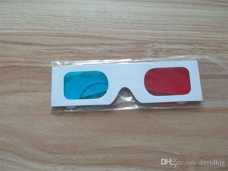 Nuovo 2018 Hot! Occhiali 3D Anaglifi Rosso / Blu Carta Ciano Film DVD 3D dimensionali all'ingrosso