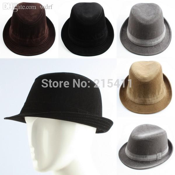 Wholesale Men S Man Corduroy Plain Casual Dress Fedora Cuban Style Upturn  Short Brim Trilby Cap Hat Floppy Hats Black Floppy Hat From Wdrf 7d06de90a36