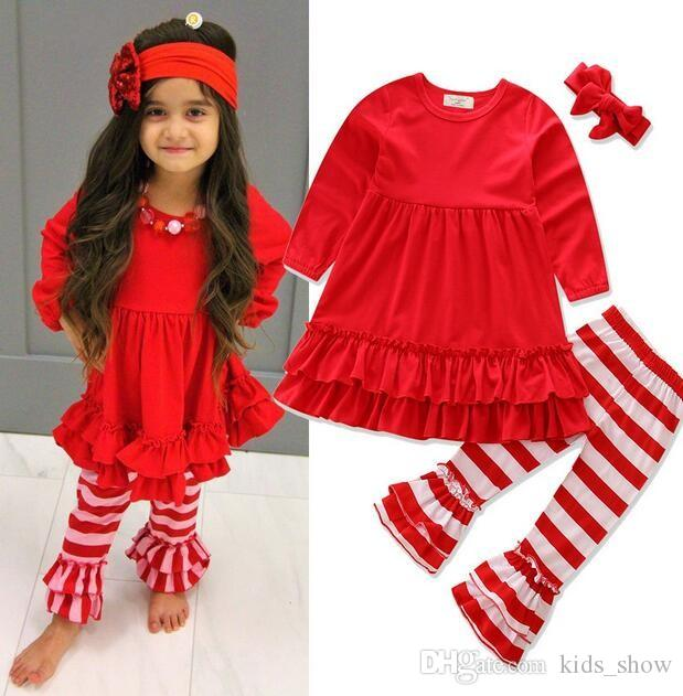 2017 Girls Childrens Clothing Sets Ruffled Red T-shirts Tops Lace Striped Pants 2Pcs Fashion Girl Kids Apparel Boutique Enfant Clothes Suit