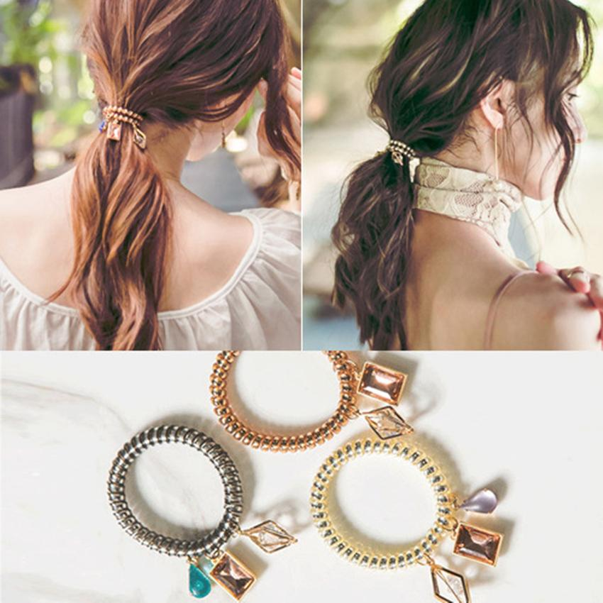 New Arrived Telephone Wire Coil Hair Band With Crystal Diamond Charm  Jewelry Bracelet Wristband Hair Tie Pony Tail Holder Scrunchies UK 2019  From Lycc1984 2067ad0bba6