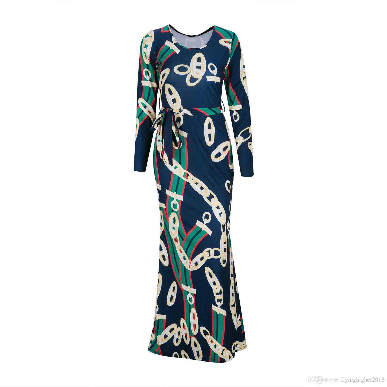 가을 여자 맥시 드레스 전통적인 아프리카 롱 드레스 다시 키 탄성 우아한 숙녀 Bodycon 빈티지 체인 인쇄 플러스 사이즈 인쇄