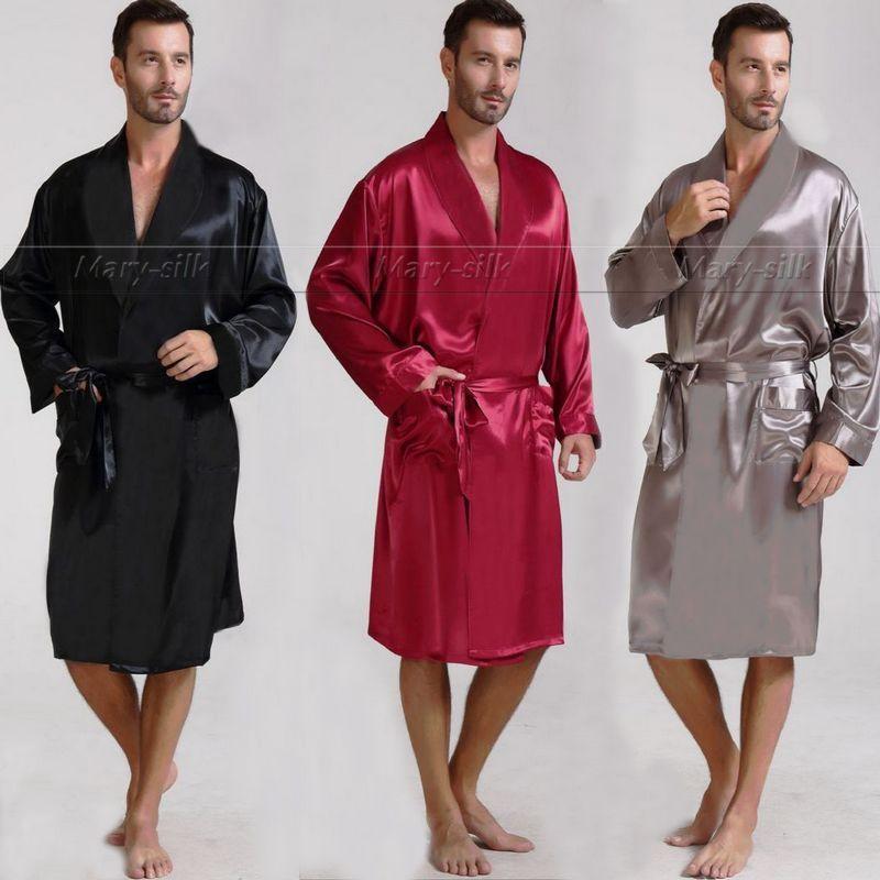 Wholesale-Mens Silk Satin Pajamas Pajama Pyjamas PJS Sleepwear Robe ...