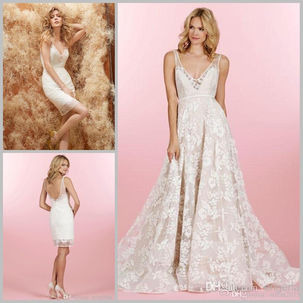 2015 Lace Wedding Dresses With Lace Detachable Skirt Floral Sheer ...