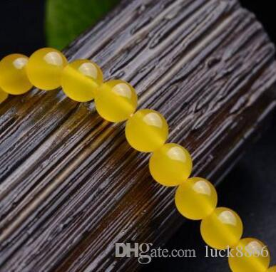 Yellow agate DIY bracelet necklace string beads, beads diameter 4mm-14mm