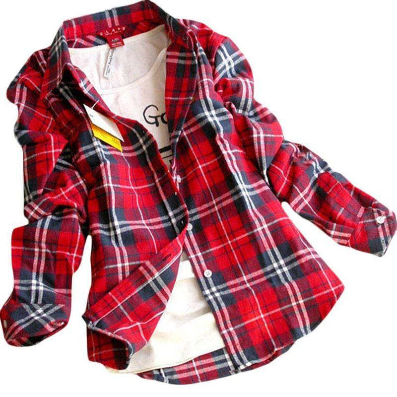 Best New Women Button Down Casual Lapel Shirt Plaids Checks Shirt ...