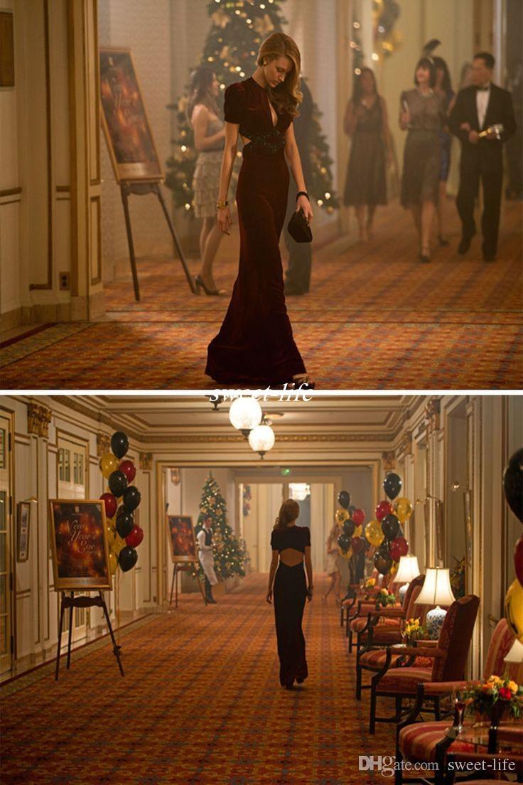 Schöne Kleider Age of Adaline Film Mantel Sexy V-Ausschnitt Kurzarm Keyhole Neck 2019 Lange Formelle Celebrity Dress Party Abendkleider
