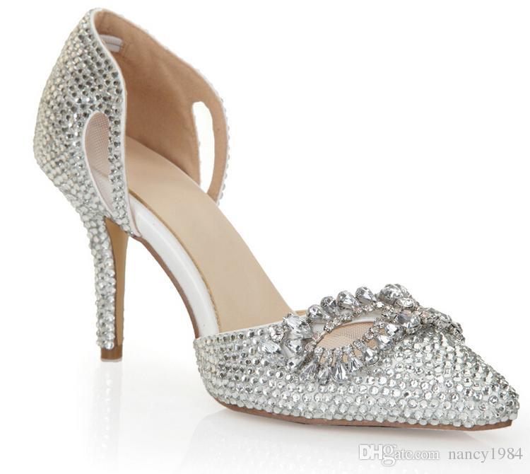 シルバーラインストーンヒール尖ったつま先のブリンシンデレラシューズサイズ40 41 8cmブライダルドレスシューズナイトクラブクリスタル女性のプロムの靴