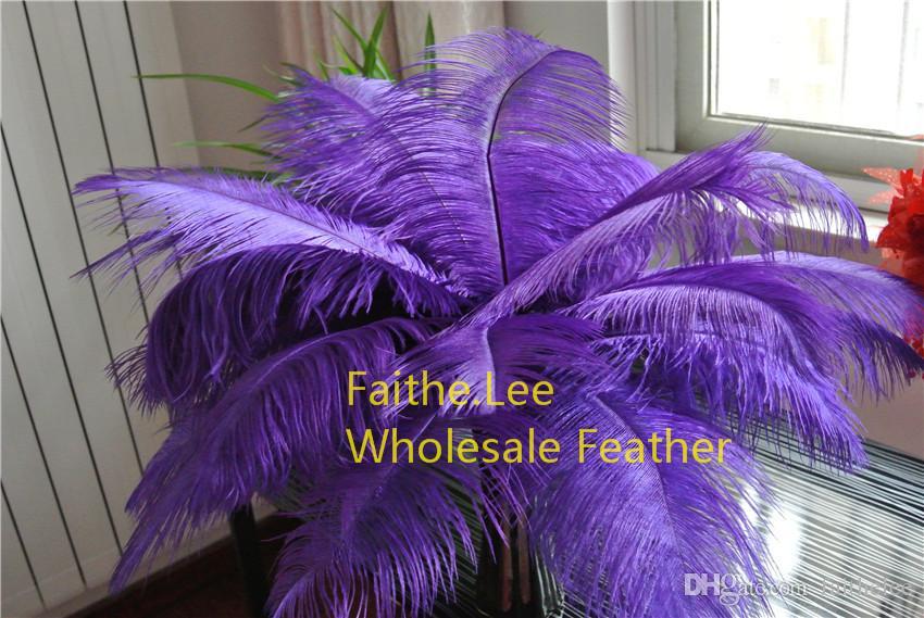 Wholesale-Livraison gratuite / 12-14inch Purple Purple Autruche Plumes pour Tour Eiffel Centres de Tour Accueil Décoration de table, Décorations de mariage