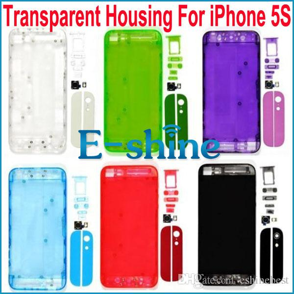 low priced 8fb2f 0a092 For iPhone5S Transparent Replacement Plastic Back Battery Cover Case  Housing for iPhone 5s Clear Rear Back Cover Assembly