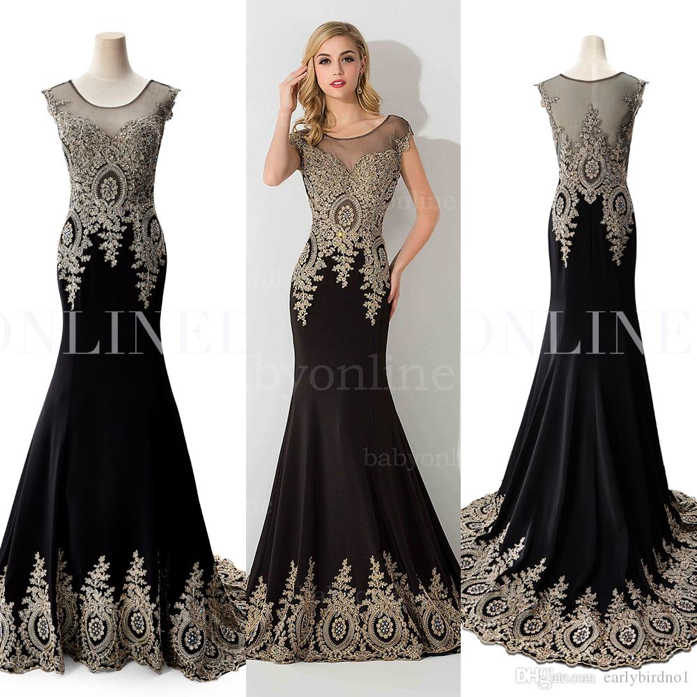 2017 Spandex Mermaid Robes de soirée noires Sheer Jewel Neck avec perles Illusion Back Real Image Strass Formal Prom Party Gowns