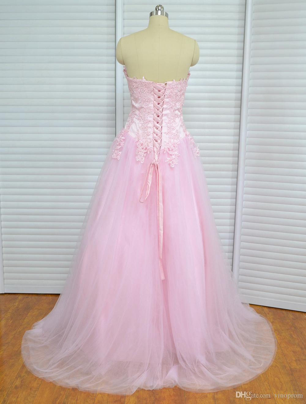 Real Photo Ball Gown Sweetheart Pink Appliques Tulle Plus Size Quinceanera Evening Prom Dresses 2018 Long