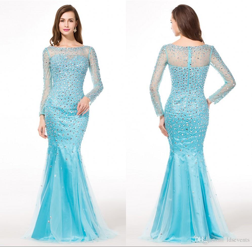 Long Sleeve Mermaid Evening Dresses Light Blue Color Shiny Floor ...