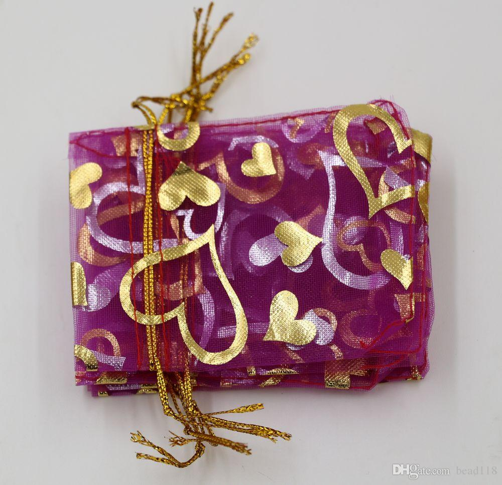 뜨거운! 쥬얼리 패킹 로즈 레드 하트 Organza 파우치 결혼식 호의 선물 가방 7 x 9cm / 9 x 12cm / 13 x 18cm