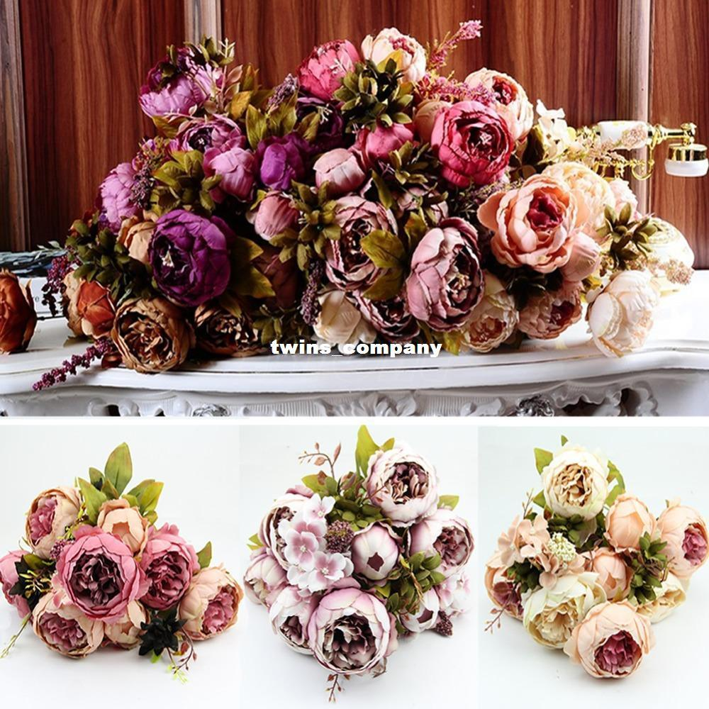 Fake Wedding Flowers Uk: 1 Bouquet 10 Heads Vintage Artificial Peony Silk Flower