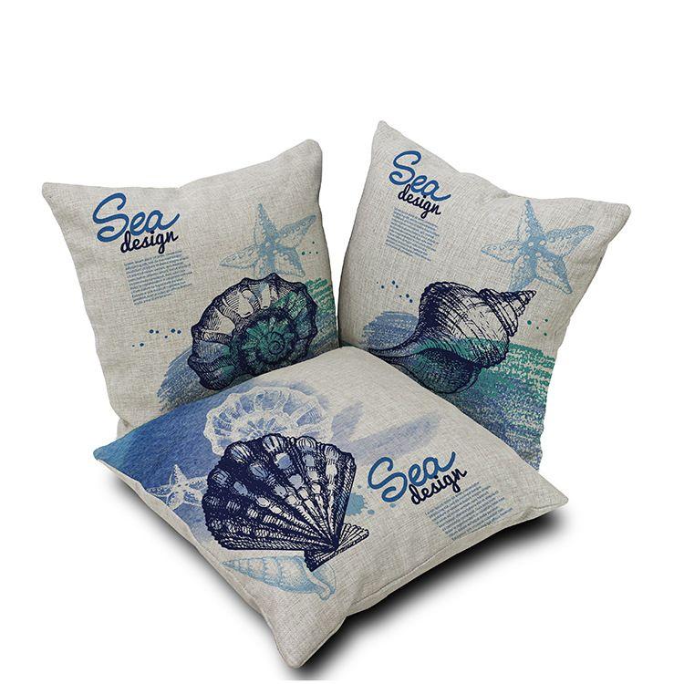 Blue Nautical Home Decor Starfish Cushion Cover Sea Design