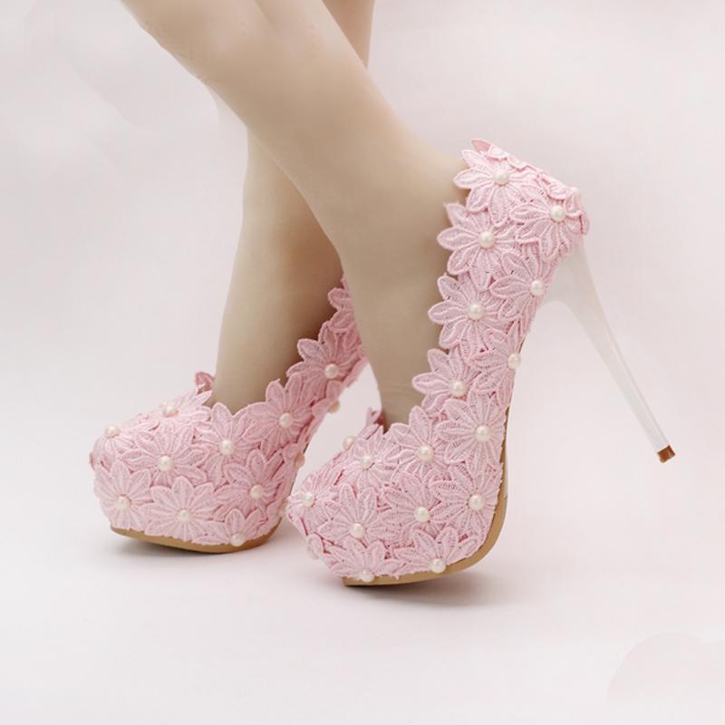 2019 Belle Rose Dentelle Chaussures De Mariage De Fleur Bout Rond Femmes Robe Habillées Habillées Talon Haut Chaussures De Demoiselle D'honneur Prom Party Pompes