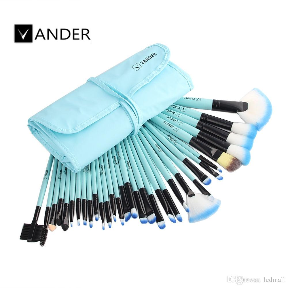 Vander Professional Soft Cosmetic Eyebrow Shadow Makeup Brush Set Kit Lip Liner Brushes + Pouch Case USA Stock