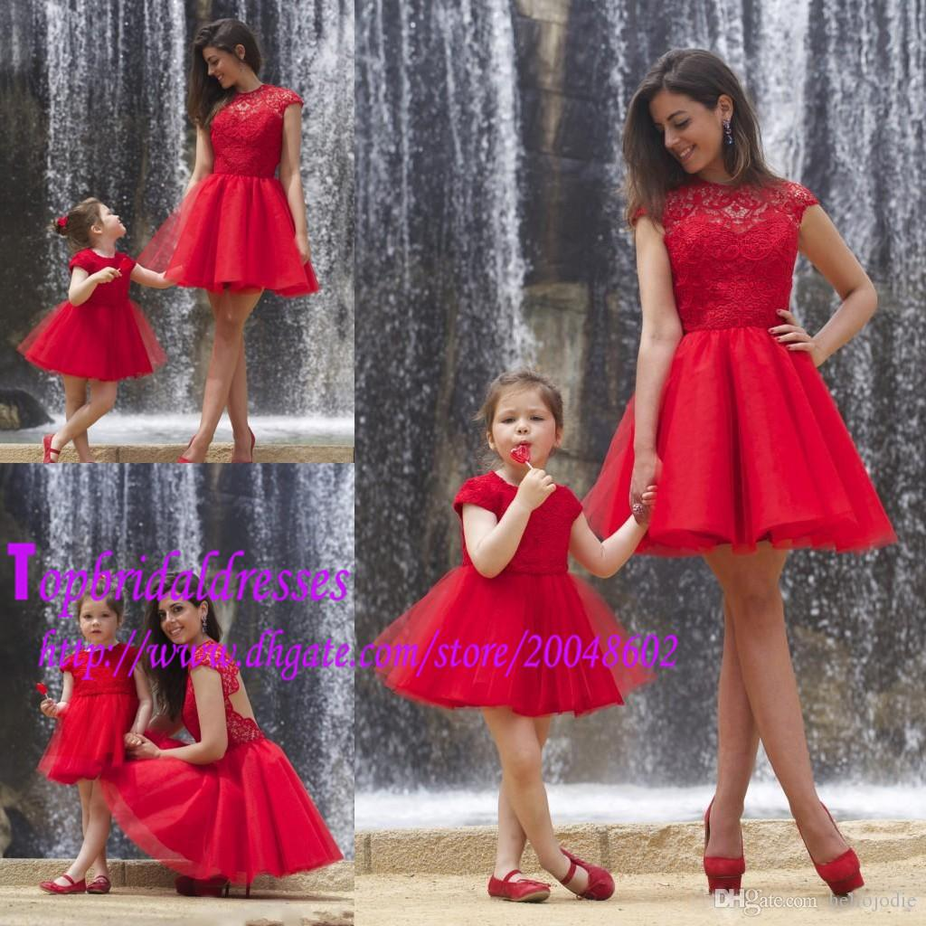 Cute Family Dresses Lace Top Tulle Skirt Short Party Dresses High ...