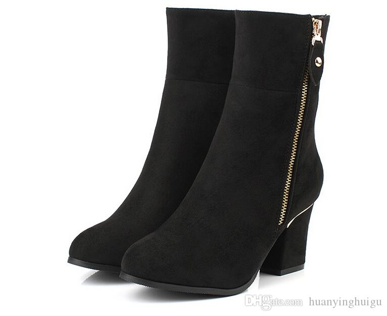 Nowa moda damska kostki krótkie buty wysokie obcasy pompy platformy buty zimowe ciepłe buty śniegu dla kobiet NXZ151