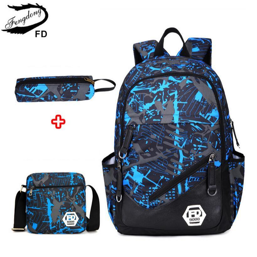 62b3c7c3159 Fengdong Waterproof Oxford Fabric Boys School Bags Backpack for Teenagers  Pencil Case Blue Book Bag Boy One Shoulder School Bag