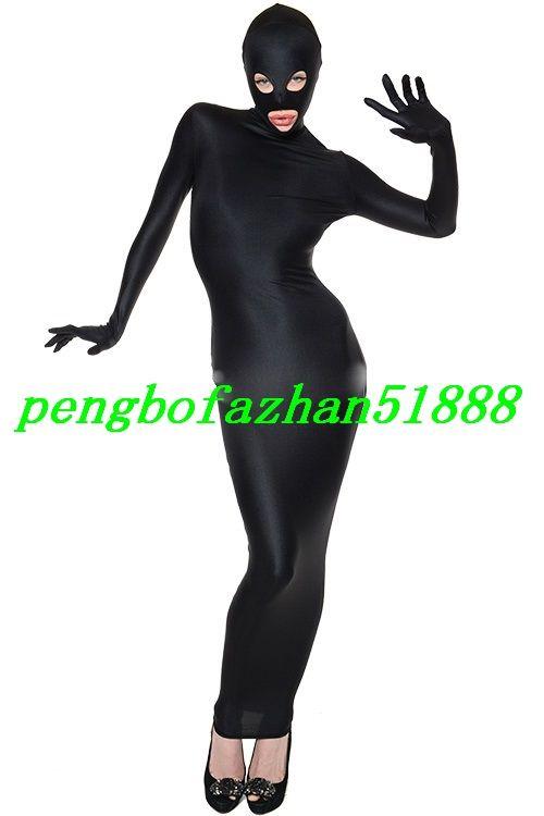 Nuevo Negro Lycra Spandex Bolsas para el cuerpo Traje Disfraces Saco de dormir Traje con ojos abiertos Boca abierta Disfraz de Halloween Traje de cosplay P022
