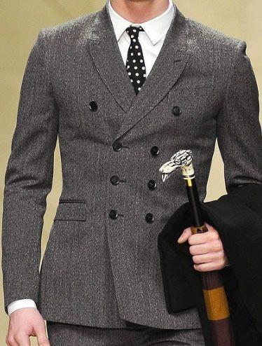 Best Slim Fit Double Breasted Suit Custom Made Dark Grey ...