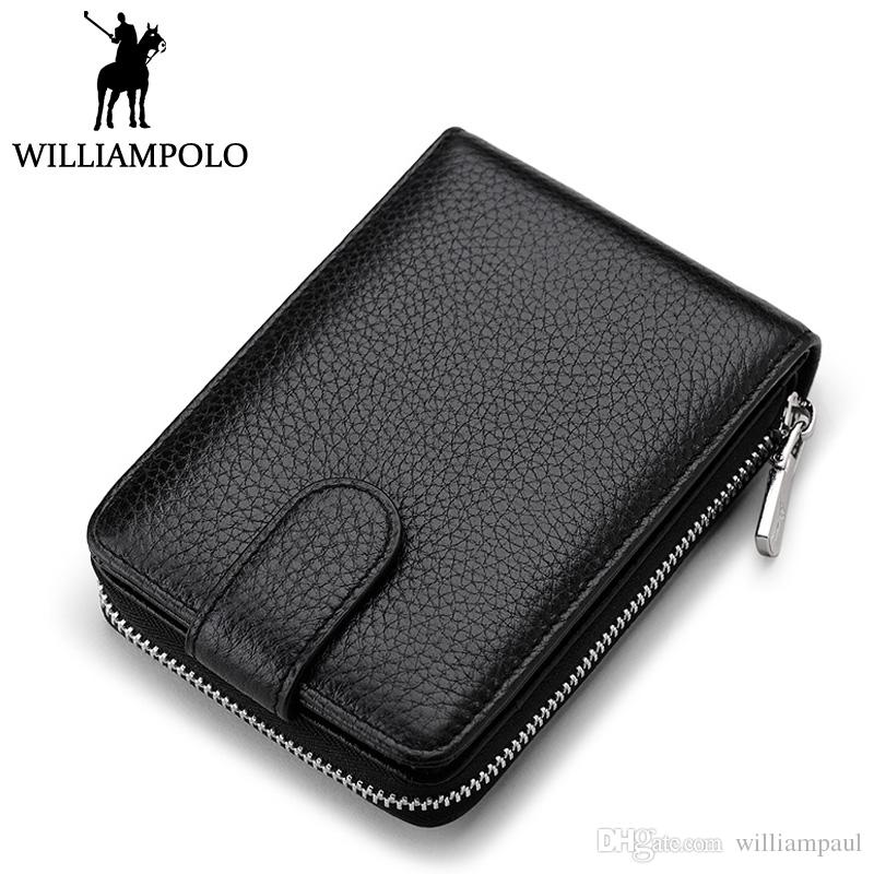 2018 Fashion Zipper Card Holder Wallet Genuine Leather Credit Card ...