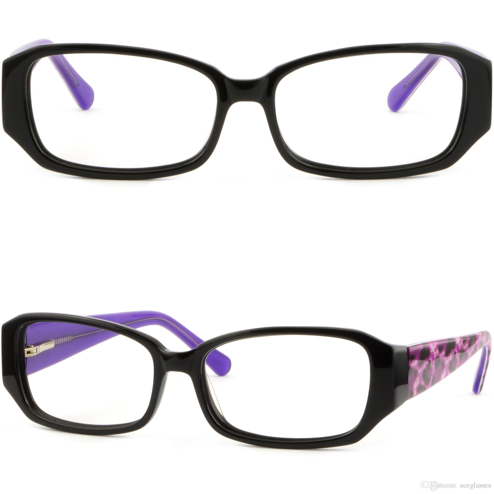 9f660ed4f61c Chic Fashionable Women S Acetate Frame Thick Arm RX Glasses Spring Hinges  Black Eyeglasses Frame Size Eyeglasses Frames Cheap From Aceglasses