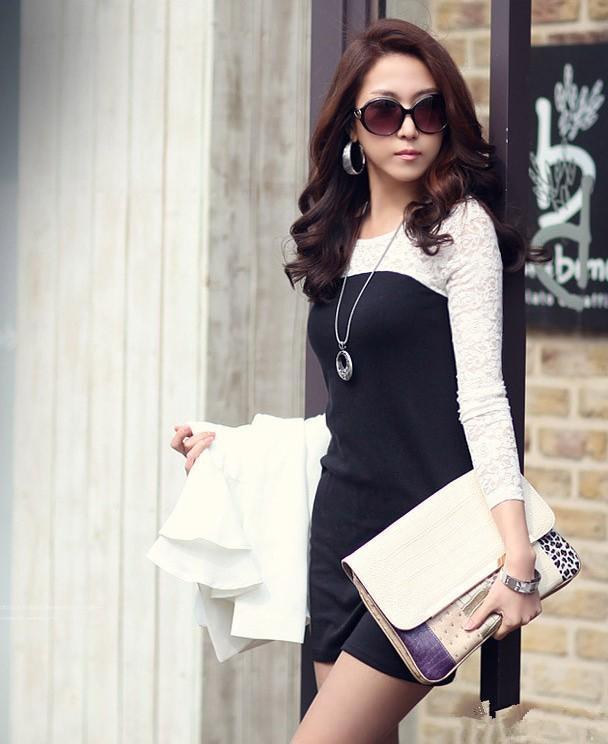 Nuovo 2014 moda donna manica lunga abito sexy in cotone casual pizzo Silm nero S M L XL, XXL, XXXL festa club mini abito Promotio