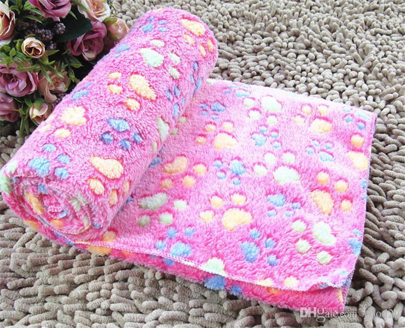 Симпатичный теплый коврик для кровати с домашним животным маленький средний большой размер с принтом лапы кошка собака флис мягкое одеяло щенок зима