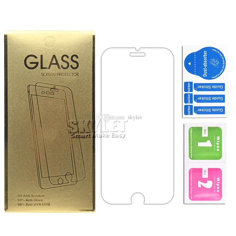 Für Iphone 12 Pro Max XS MAX 0,33 mm gehärtetes Glas für Samsung Galaxy S7 Ausgeglichenes Glas-Schirm-Schutz mit Papierkasten