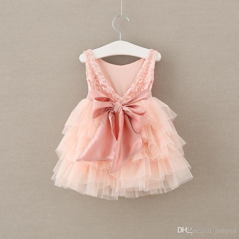 Girls Princess Party Dress Summer Lace Cake Dresses Sweet Pink Lace ...