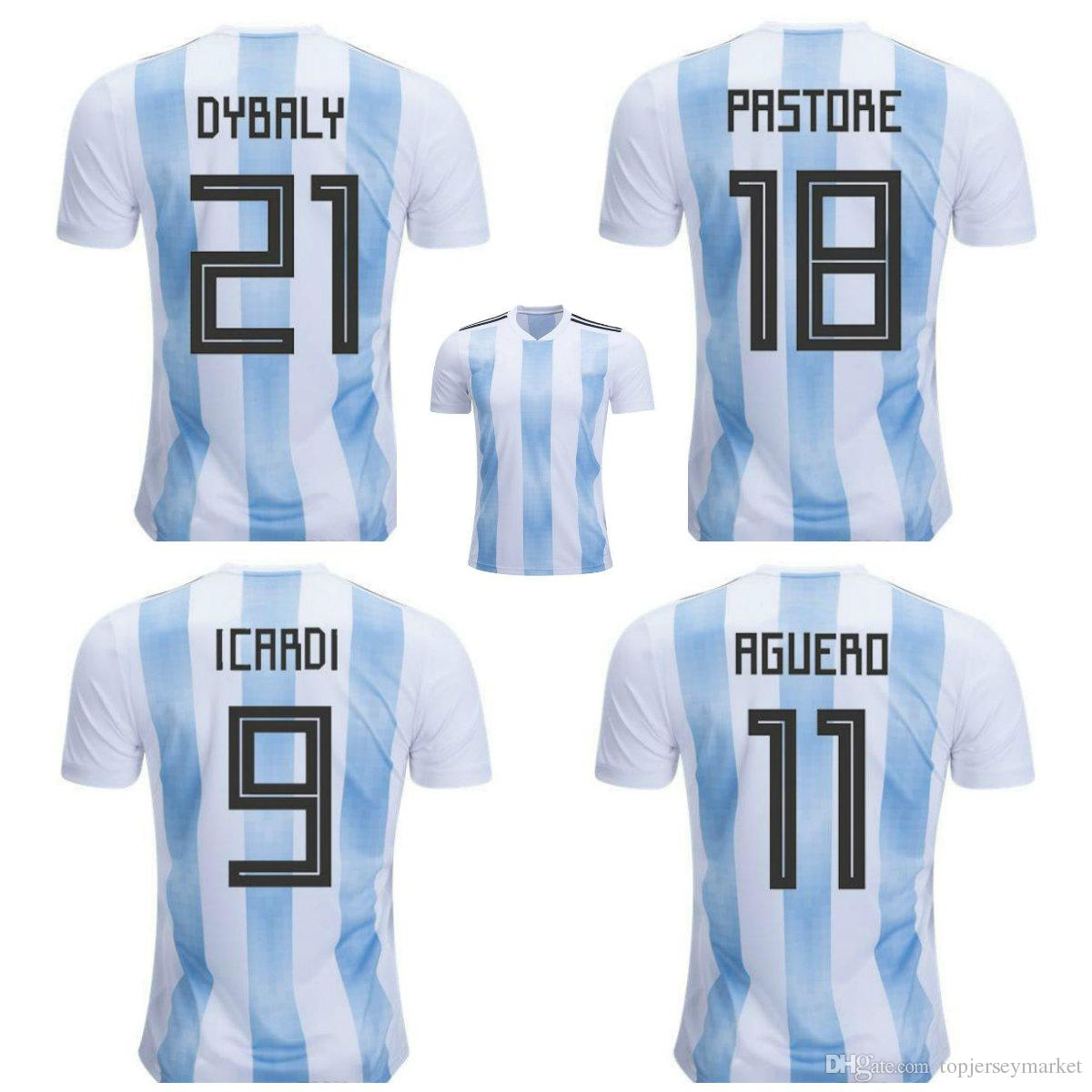 ed7ca55da68 2019 New 2018 World Cup Argentina Home Soccer Jersey 18 19 MESSI DI MARIA  AGUERO Thai Quality Argentina Camisas Football Shirts From Topjerseymarket