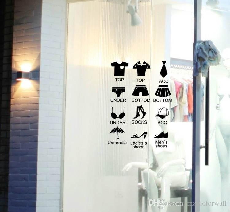 Black Shirts Shoes Clothes Collection Box Decor Sticker Garment Store Window Glass Decoration Wallpaper Decal Costume Classification Sticker