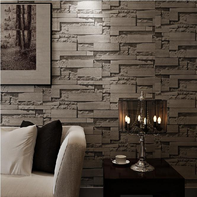 Fashion Stacked Brick D Wallpaper Modern Wall Paper Vintage D - 3d brick wallpaper living room